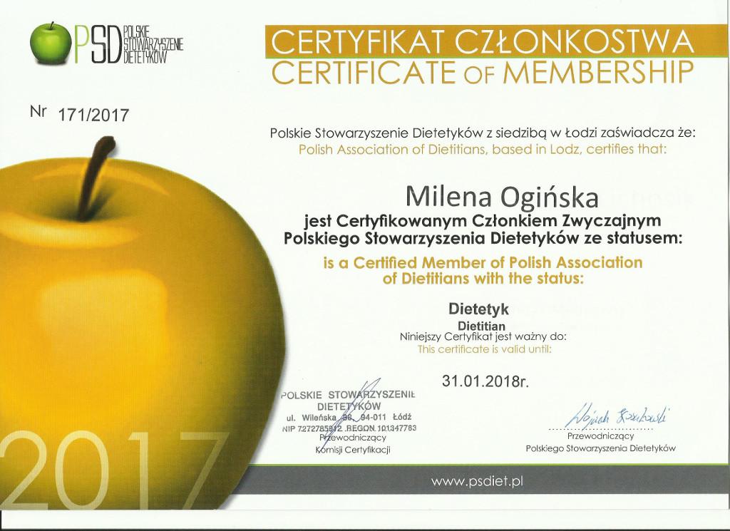 Certyfikat Członka Zwyczajnego Polskiego Stowarzyszenia Dietetyków