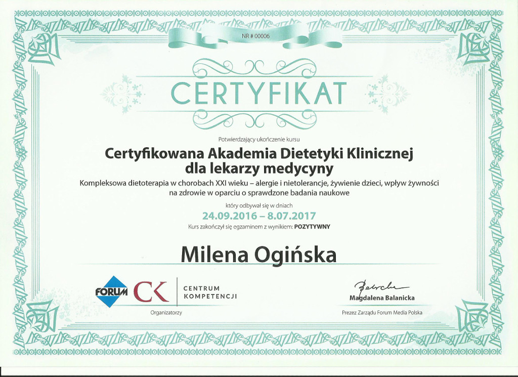 Certyfikat Akademii Dietetyki Klinicznej